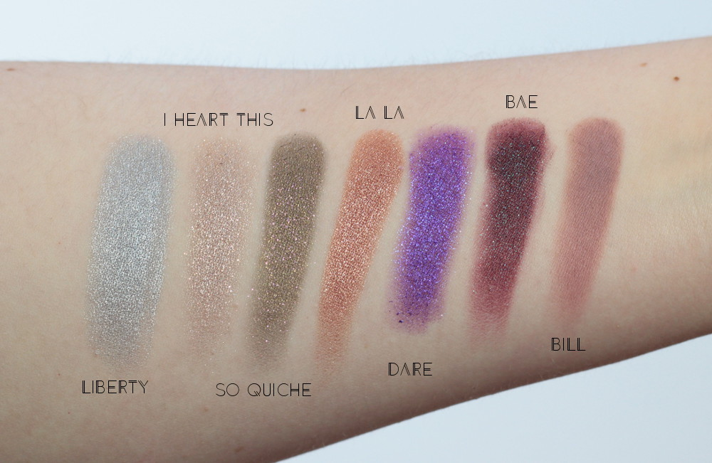 ColourPop_Cosmetics_Swatchtes_Liberty_I Heart This_So Quiche_ LaLa_Dare_Bae_Bill