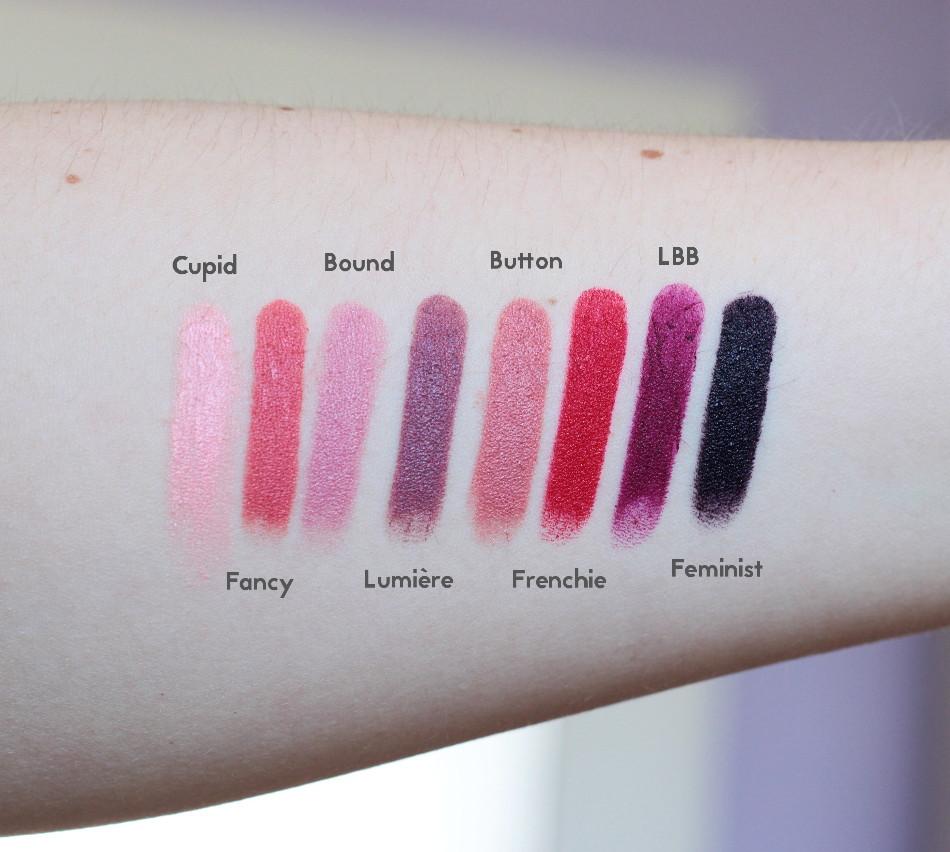 ColourPop Lippie Stix - Swatches und Tragebilder_Cupid_Fancy_Bound_Lumière_Button_Frenchie_LBB_Feminist