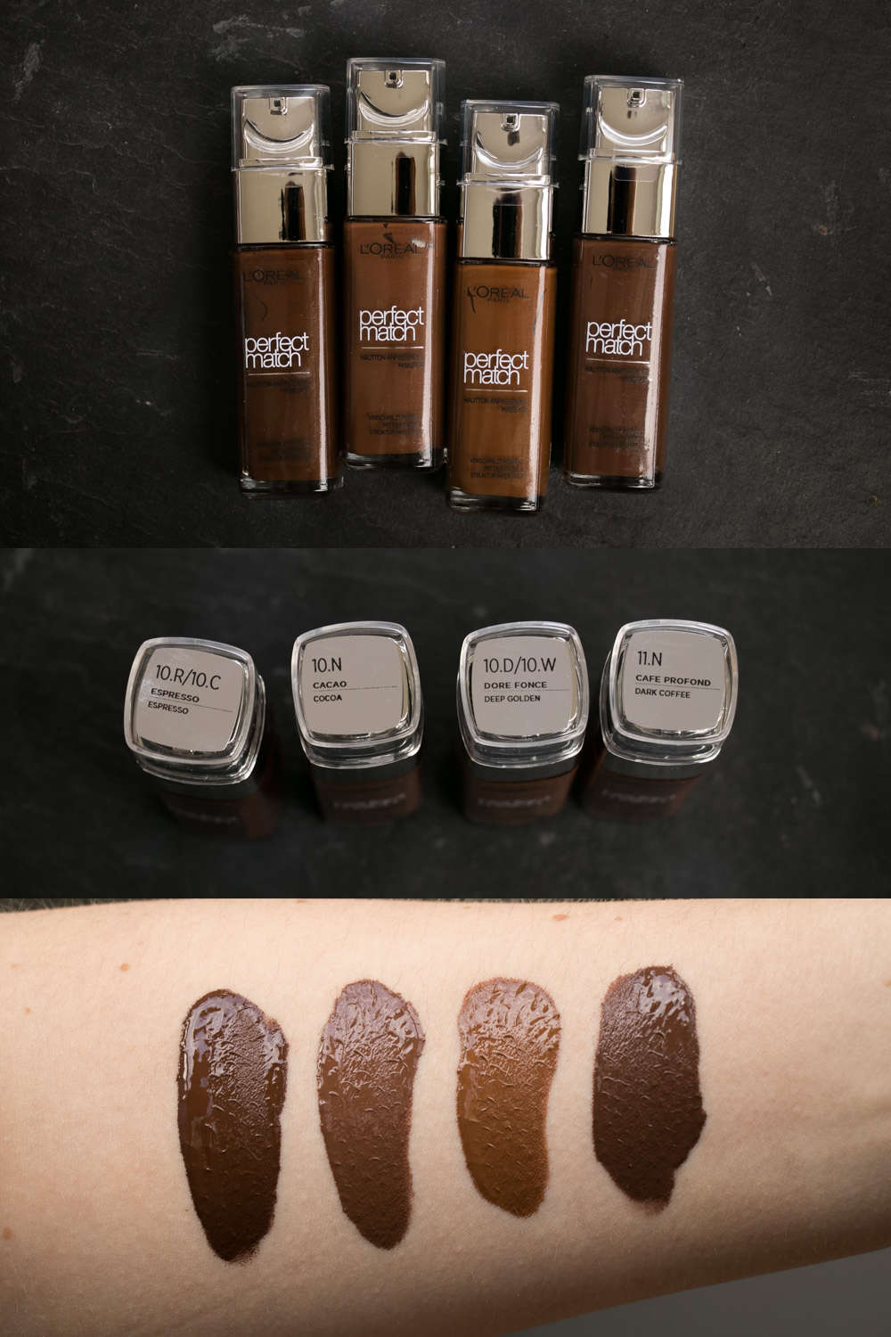 Loreal Perfect Match Foundation Swatches
