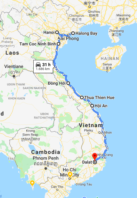 Vietnam_Reiseroute