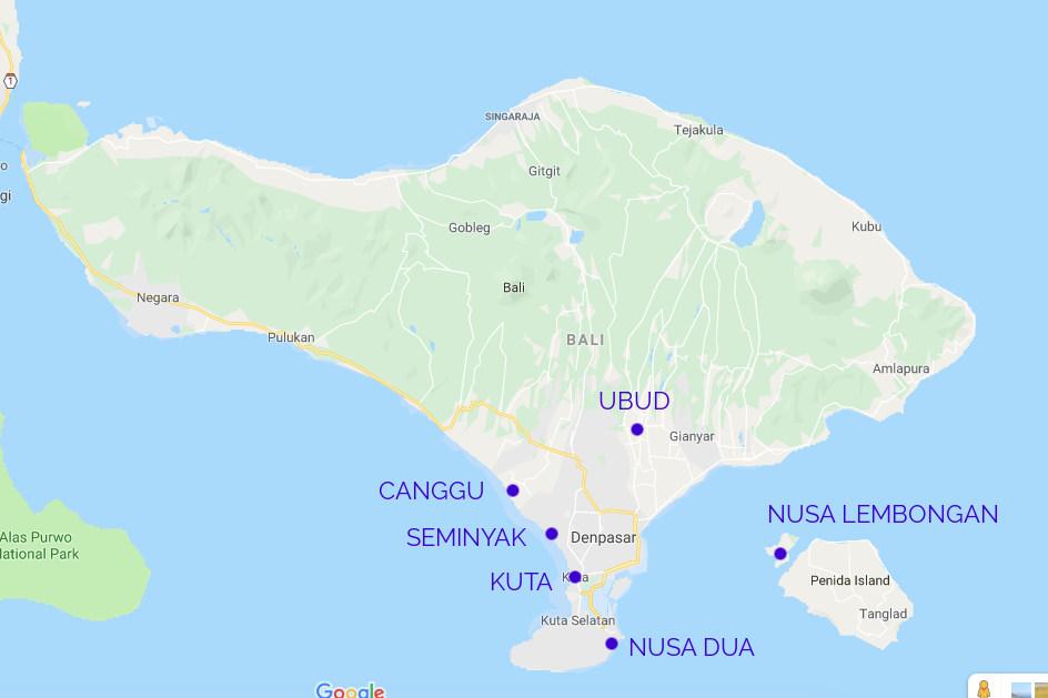 Bali Karte Reiseroute