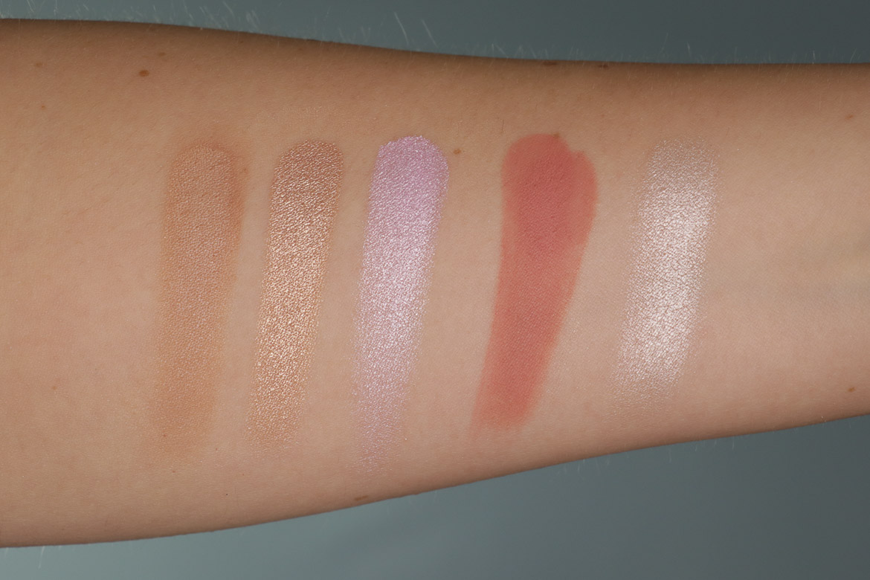 Swatches Complexxion Face Palette Make-up Set in Elemental | XXcess Powder Blush in Entice | Highlighter Powder in Echo