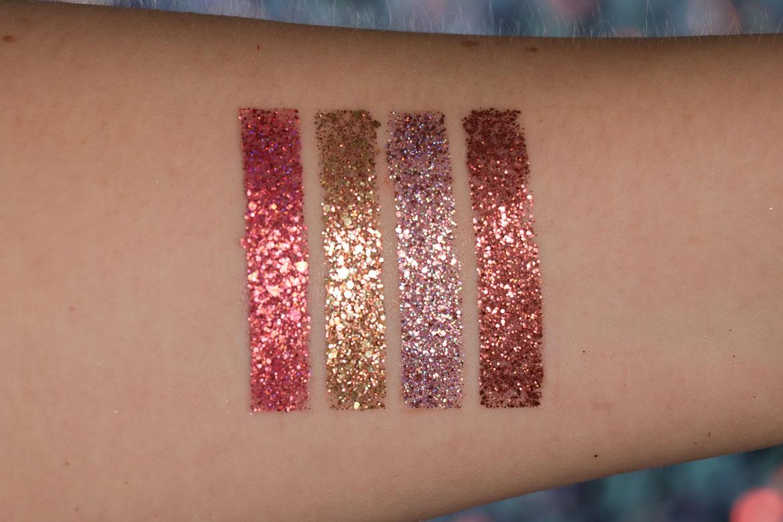 NABLA Ruby Lights Glitter Palette Swatches