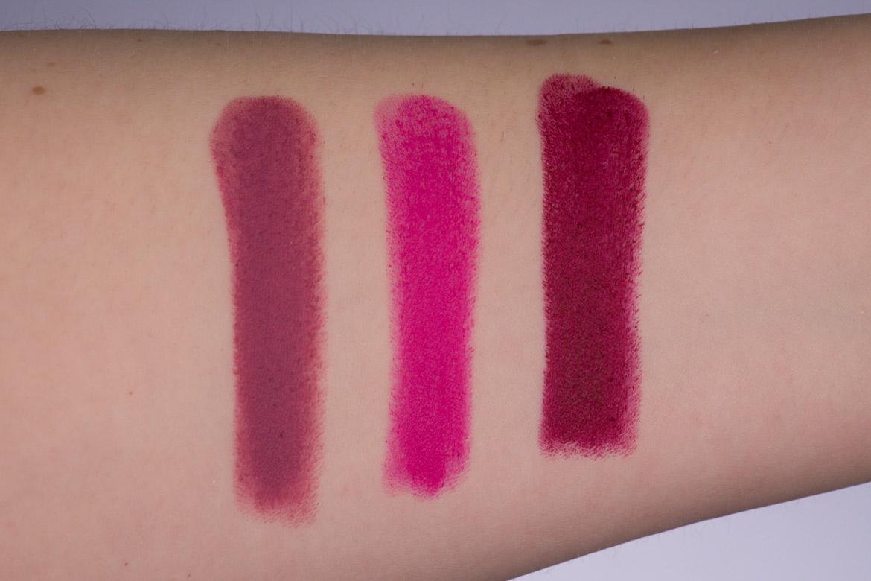 Swatches Lisa Eldridge True Velvet Lip Colour Lippenstifte Velvet Beauty - Velvet Carnival - Velvet Myth