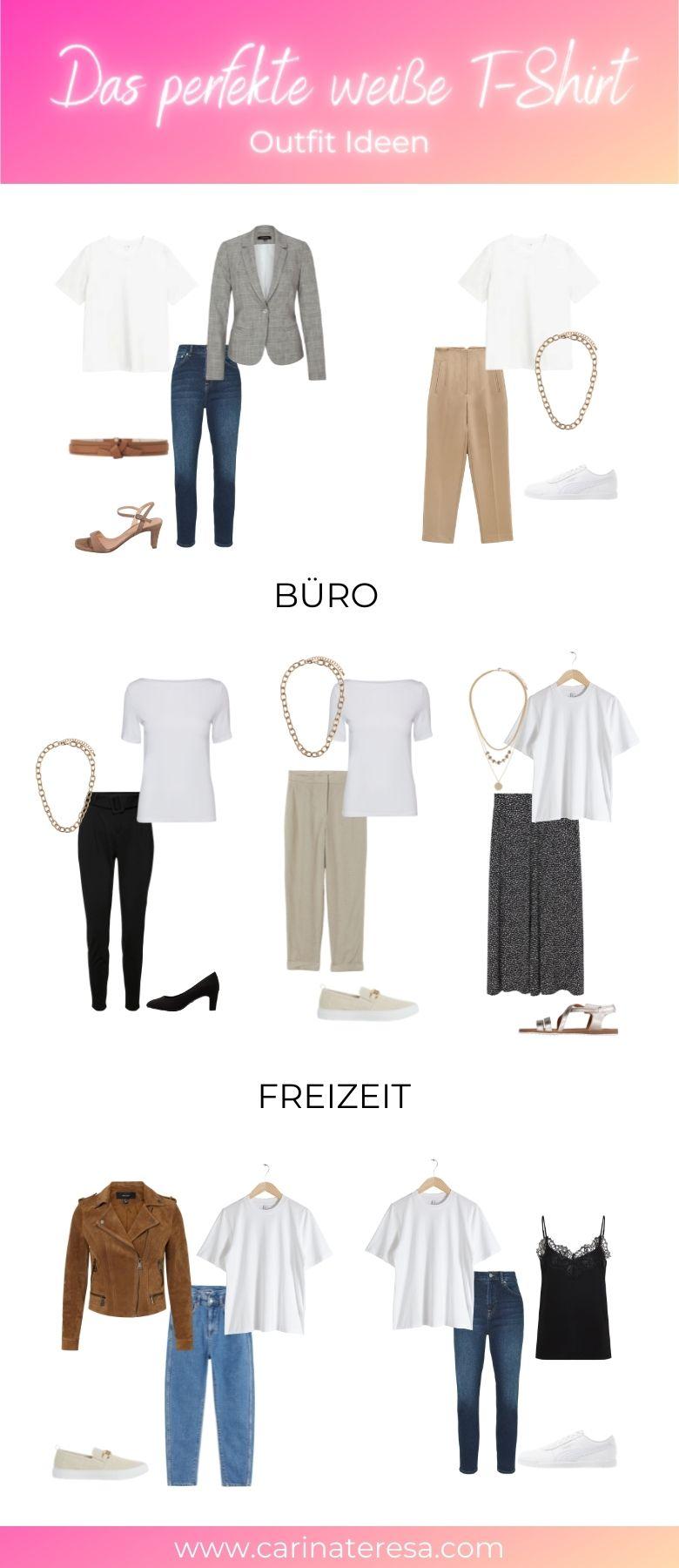 weißes T-Shirt Outfit Ideen