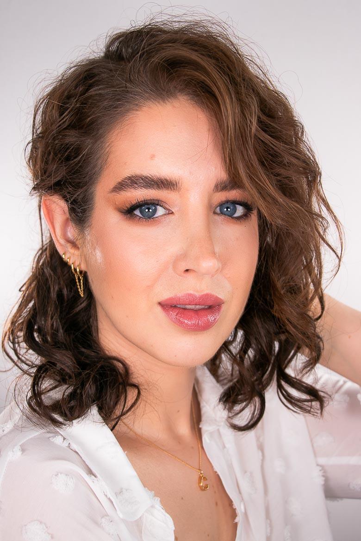 Make-up Look brauner Lidschatten rosa Lippen